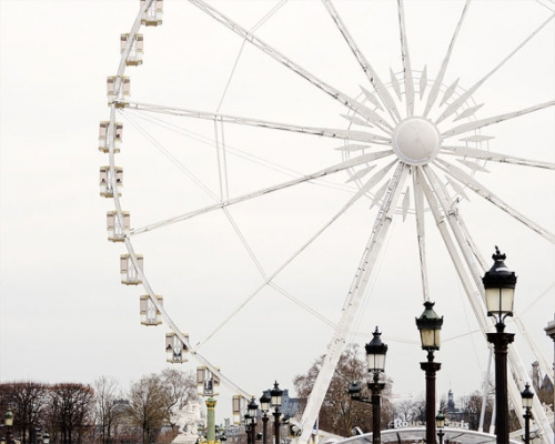 Paris Photography, Ferris Wheel, Paris Prints, Winter White Decor, Black and White, NR
