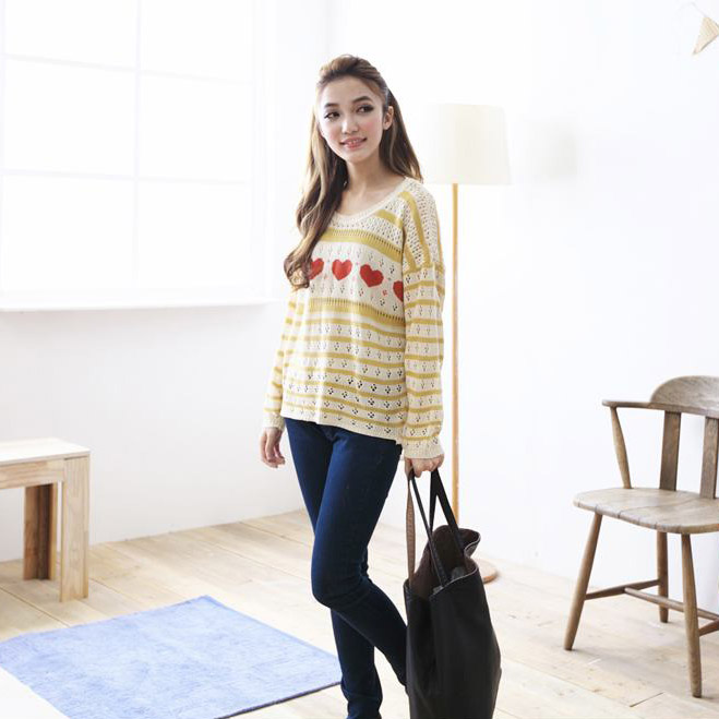Korean Angelica Heart & Stripe Long Slv Slouchy Top