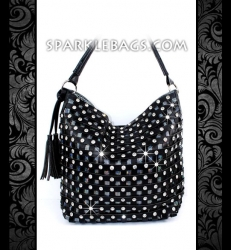 ❤ SOLD OUT! | Black or Metallic Pewter - Rhinestone Crystal Iridescent Handbag Sparkle Hobo Tote Purse - Studs & Tassel