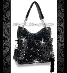 ❤ SOLD OUT! | Black - Rhinestone Crystal Sparkle Handbag Hobo Tote Purse + Tassel