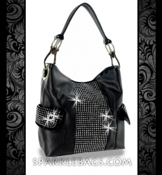 ❤ SOLD OUT! | Black - Rhinestone Crystal Sparkling Handbag Fashion Shoulder Purse Bag with Crystal Embelished Pockets