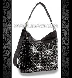 ❤ SOLD OUT! | Black - Rhinestone Crystal Circle Pattern Sparkle Handbag Hobo Tote Purse - Plus Decorative Tassel