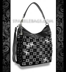 ❤ SOLD OUT! | Black - Rhinestone Crystal Checkard Pattern Sparkle Handbag Hobo Tote Purse - Plus Decorative Tassel