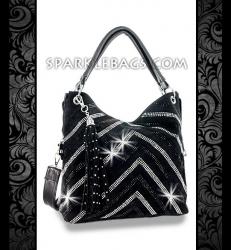 ❤ SOLD OUT!   Black - Rhinestone Crystal V Pattern Sparkle Handbag Hobo Tote Purse - Detachable Decorative Tassel