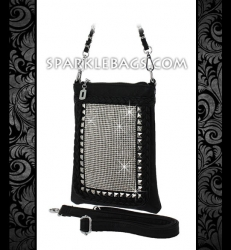 ❤ SOLD OUT! | Rhinestone Crystal Sparkle Handbag Cross Body Messenger Purse - Embelished with Rivet Studs - Black | White | Pewter