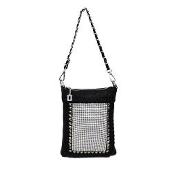 Rhinestone Crystal Sparkle Handbag Cross Body Messenger Purse Embelished With Rivet Studs Black White Pewter