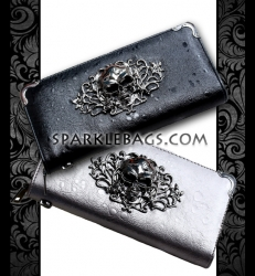 ❤ SOLD OUT! | Sexy Skull Wallet Coin Clutch Black | Silver Punk Rock Biker Accessory