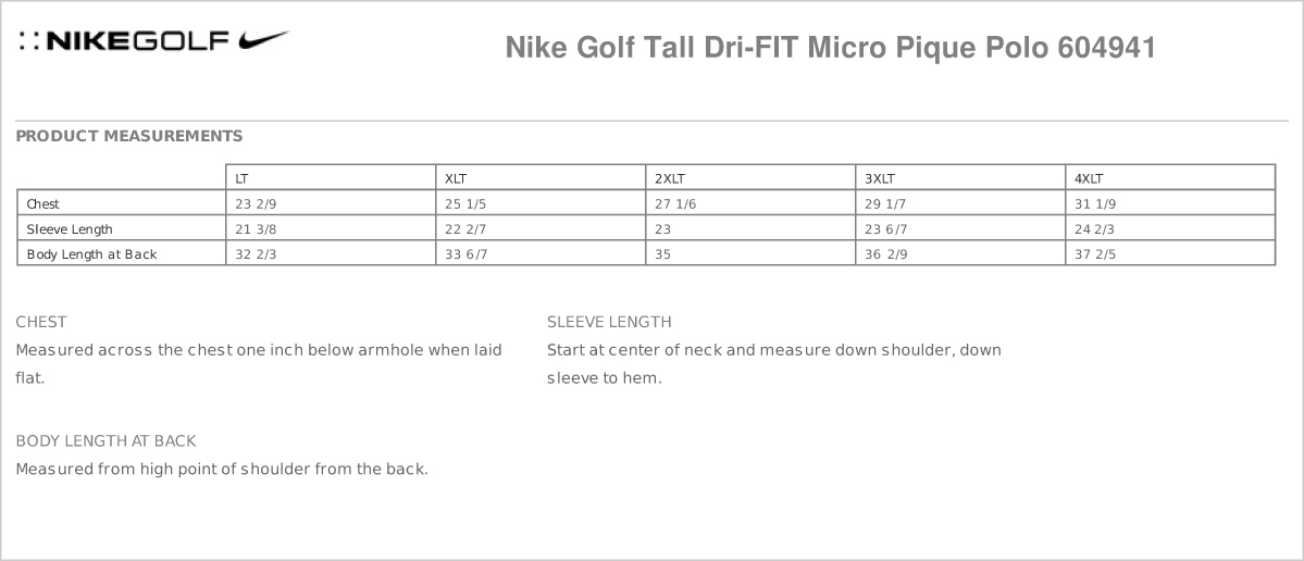 Tall Nike Golf Mens Tall Dri Fit Micro Pique Polo