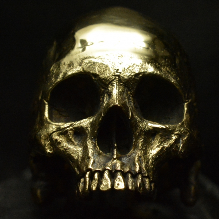 Brass Large Half Jaw • Skull Ring • Polished Finish #93
