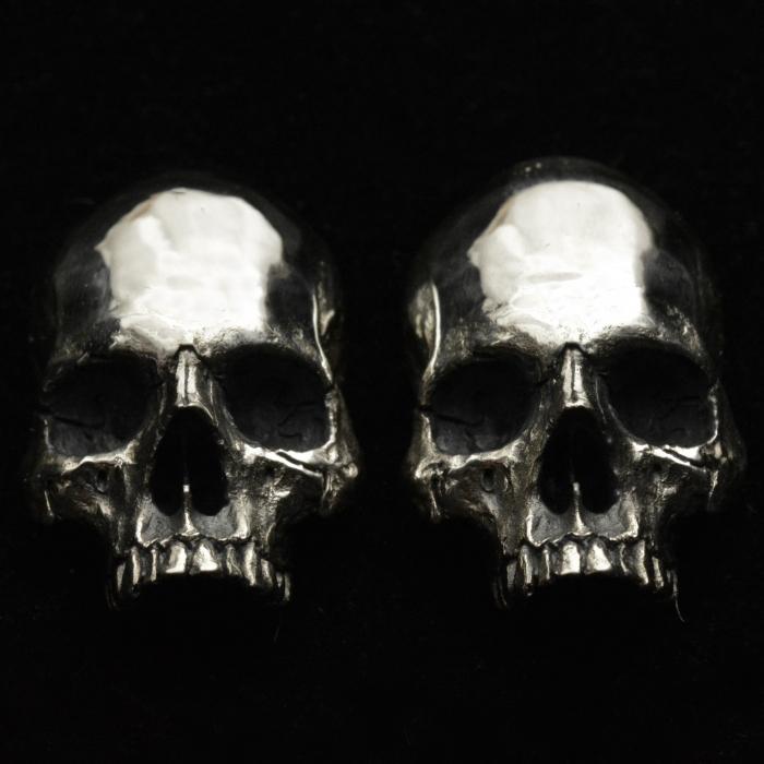 Skull Cuff Links Half Jaw • .925 Sterling Silver Skulls • #50