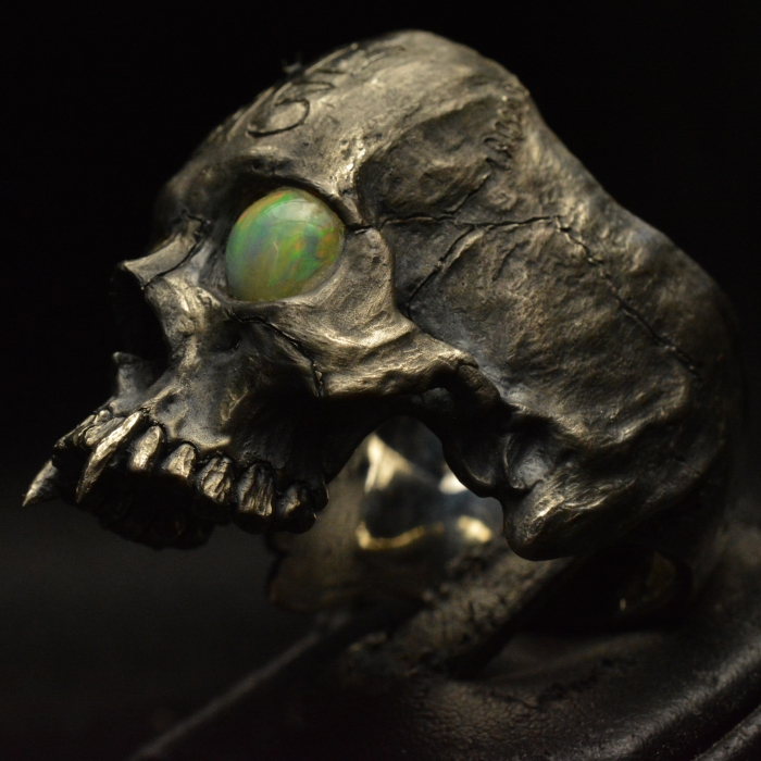 Massive Vampire Half Jaw with Opals • .925 Sterling Silver • Skull Ring • #42