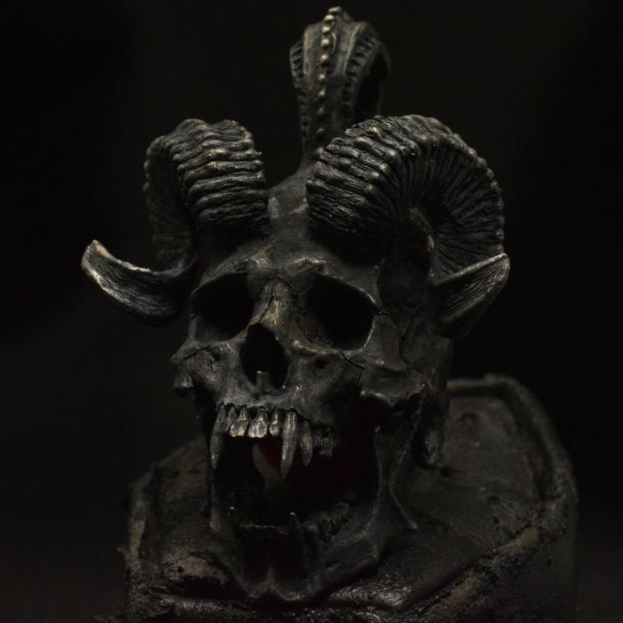 Horned Beast Pendant  • .925 Sterling Silver • Skull Pendant • No Chain #32