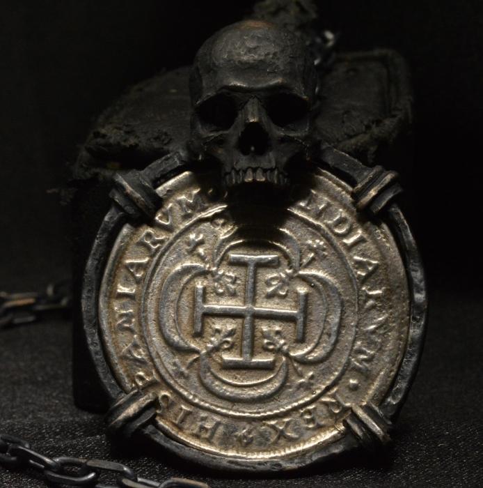 Pirate Coin Skull Pendant  • .925 Sterling Silver • Skull Treasure Pendant • #60p #77c