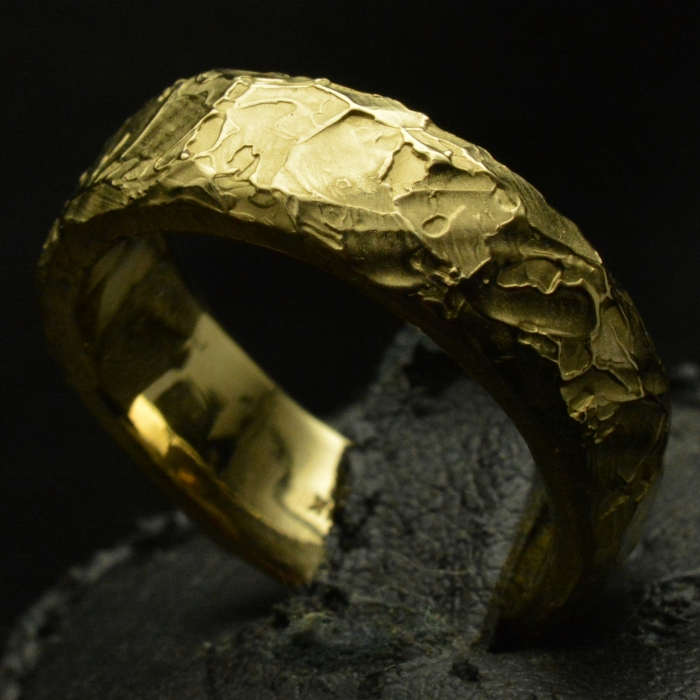 Gold Fire Forged Standard Band .• Textured Ring Band • #62