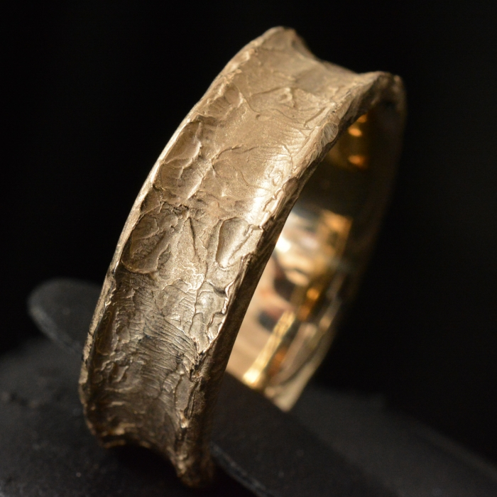 Gold Molten Core Band 18k Yellow Gold • Textured Ring Band • #98