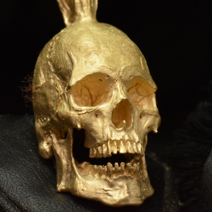 Large Open Jaw Pendant - Yellow Gold • Skull Ring • #
