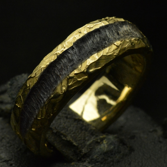 Custom Gold Flame Etched Standard Band .• Textured Ring Band • #
