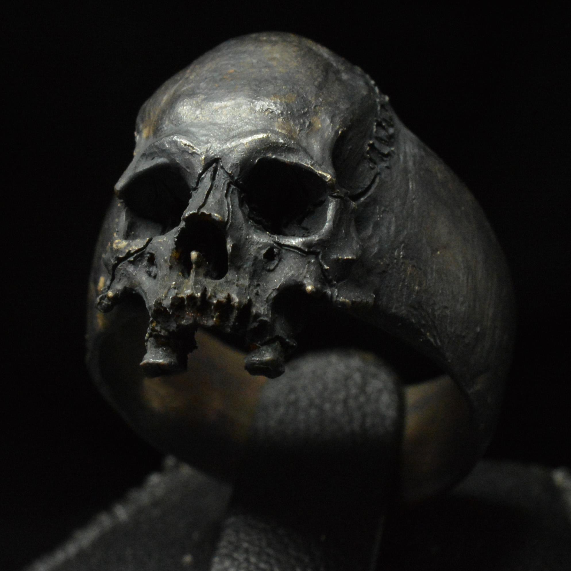 elegant skull ring-half jaw skull band sterling silver 925 skull Small skull silver ring