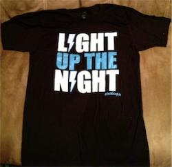 Light Up The Night Unisex Black Blue/White Logo Tee