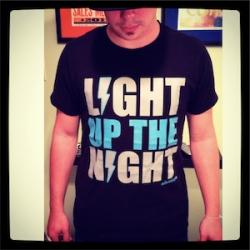 Light Up The Night Unisex Black Blue/Grey Logo Tee