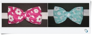 Padded Bow tie back. Blue - Pink