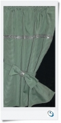 "Green curtain Bling trim 17"" wide x 18"" d SOLD"