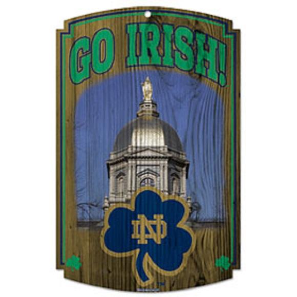 Notre Dame Fighting Irish NCAA Wood Sign 11x17 Go Irish Office Home