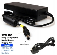 12V 3A/5A Power Supply for BAIRD TV TI2402DVDBC, TI2402DVDWC, CN22, CN24 Model, 3 Years Warranty Included