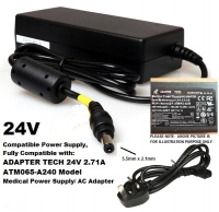 24V Fully Compatible to Adapter Tech 24V, 2.71A, ATM065-A240 Model Medical Power Supply/ AC Adapter, 5.5mm x 2.1mm Tip