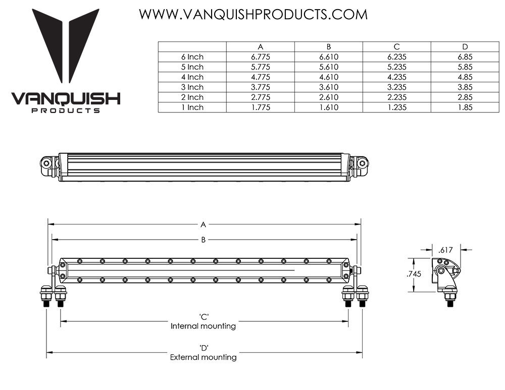 Vanquish Products VPS06752 RIGID INDUSTRIES 6IN LED LIGHT BAR CLEAR