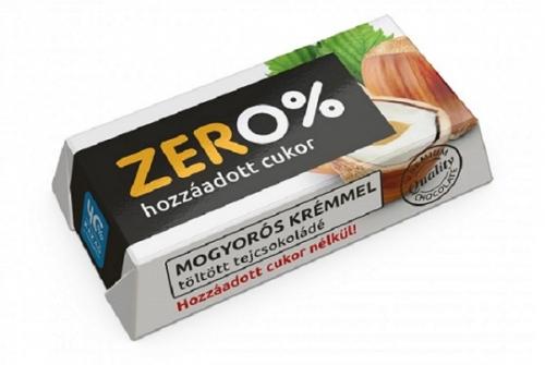 Szerencsi Zero Mogyoró ízű krémmel töltött tejcsokoládé édesítőszerrel 21g