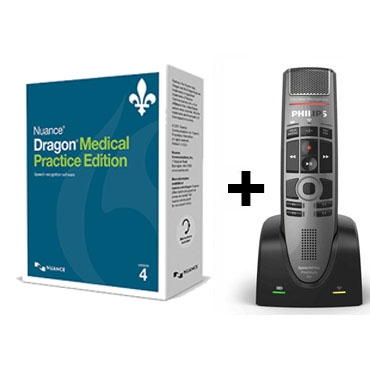 Dragon Medical 4 French with Philips' SpeechMike Premium Air Wireless Microphone - SMP4000