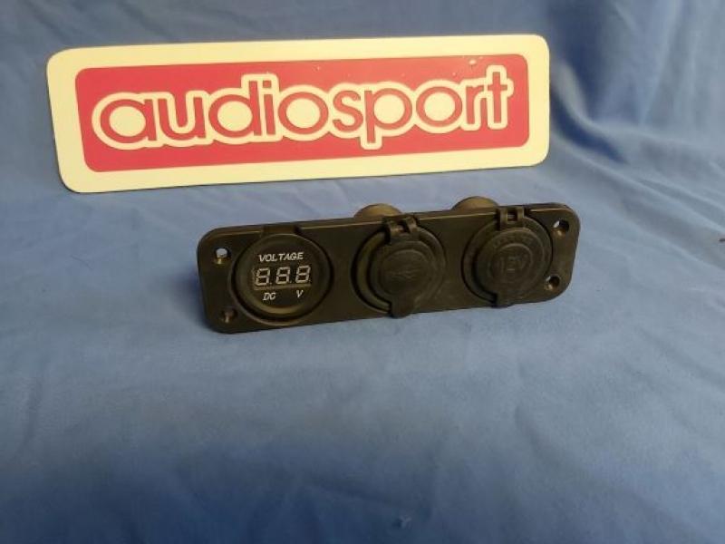Triple 12volt USB + Cigatette lighter socket + Digital voltmeter