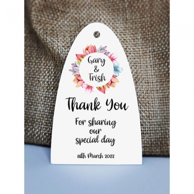 Wedding Gift Tags | Wedding Favour Tags | Personalised Tags | Thank You For Celebrating | Floral Circle Arc 1