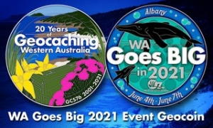 20 years of Geocaching in WA coin.