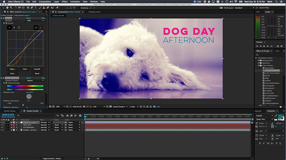 how to create presets in after effects