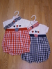 Girls check romper with hairband 009