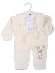 Bimbo Brand  3PC Velour Dungaree set 80% cotton/ 20% polyester White or Cream