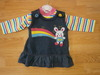 denim look dress set with rainbow & bunny 2154