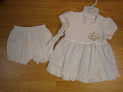 baby white cotton dress set & hairband