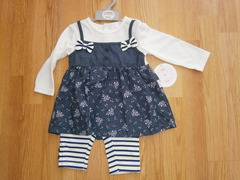 Tunic top in denim look & leggings set CC15539