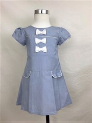 girls sky blue cotton dress with 3 bows MB 1006
