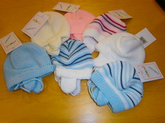 Bimbo Knitted Baby hats with stripe -asstd - dz pack