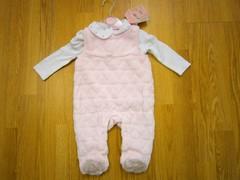 pink velour 2pc sleepsuit set