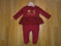 Sequin flowers cotton sleepsuit