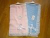 Crochet lace and ribbon shawl Ref 5 pink & blue