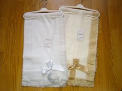 Crochet lace and ribbon shawl Ref 5 white & cream
