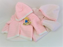 Hooded baby cardigan in pink 1245