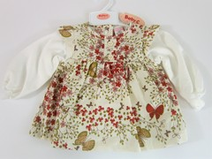 Corduroy Dress Set with Butterfly print -7416