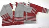 Striped Cardigan in Red and Grey 926